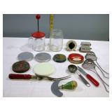Vintage Kitchen Utensils lids & timers