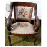 Antique Oak Parlor Chair Thick oak Tapestry Seat