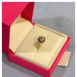 10 K Gold Emerald & Diamond ring size 6.5