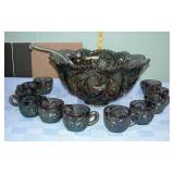 Imperial Carnival Glass Punch Bowl Set 13pcs.