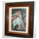 """Victorian Style Print Wood Frame 30"""" Tall 26"""" Wide"""