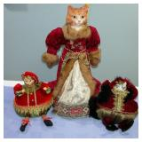 Ceramic Face Cat Dolls set of 3