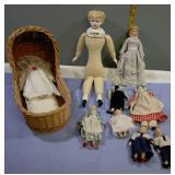 Vintage China Head Dolls set of 9
