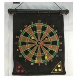 Magnetic dart board with six darts