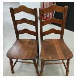 Antique oak chairs x2