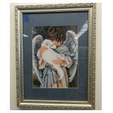 18*14 framed art angel loving puppy
