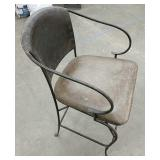 Rustic wrought iron chair padded seat