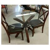 """42"""" diameter glass table with 2 matching chairs"""