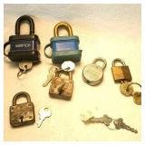 6 locks with keys
