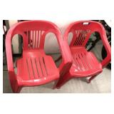 Red patio chairs x2