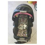 Car seat with base and baby monitoring system