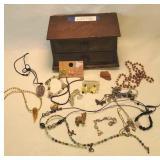 Wooden jewelry Box with jewelry