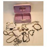 Purple jewelry Box full of jewelry clip on