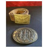 Vintage Leather Belt and 2  Wyo. Brass Buckles