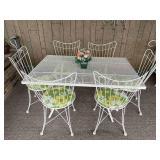 Retro Cast Iron Table w/ 6 Chairs/White