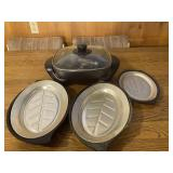 Later Electric Skillet and 3 Serving Platters