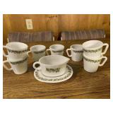 Vintage Pyrex Crazy Daisy Gravy Boat and Mugs