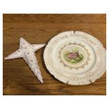 50th Anniversary Plate and Vintage Crochet Cross