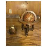 Vintage Wooden Globe and Lighter