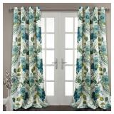 Floral Paisley Window Curtains Blue Set (#57)