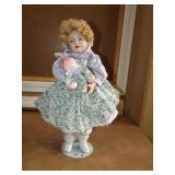 Porcelain Wind-Up Musical Doll w/Stand