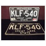 Two Michigan Plates Black KLF 540