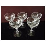 Set of 5 Crystal Liquor Glasses