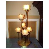 Brass Lamp with 4 Frosted Flower Shades