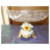 Vintage Capadiamonte Crystal Brass Pedistal Bowl