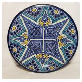 Hand Painted Pottery Wall Hanging Plate Signed