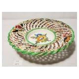Hand Painted Pottery Dish w Reticulated Edge Marke