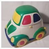 Ceramic VW Bug Shaped Cookie Jar Painted In Primar