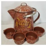 Enamel Adv Coffee Caddy Brown Agateware