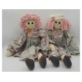 Cloth Raggedy Ann & Andy Style Dolls Signed The Ke