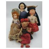 (4) Vintage Ethnic Dolls w Hats 2 Sleepy Eyes; 1 M