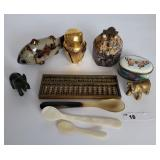 Oriental Tray Lot Fish Owl Spoons etc