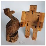 Carved Bird & David Week Studio Movable Block Man