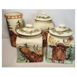 Bella Cosa Rustic Wildlife 3 Canister Set & Wine C