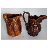 2 Brown Drip Pitchers Unmarked
