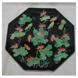 Hexagonal Asian Lotus Flower Design Collectors Pla