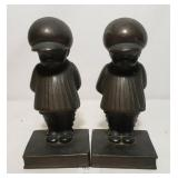 Bronze Little Darlings Book Ends Two Boys