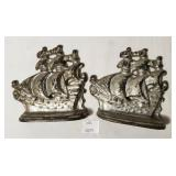 Cast Iron Sailing Ships Book Ends Silver Paint