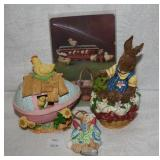 Cast Resin Rabbit w Frog Figurine, Egg w Chicks, R