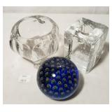 Krystal Three Footed Votive Holder & Crystal Taper