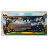 New Ray Country Life 10 Pc Farm Playset w Blue Tru