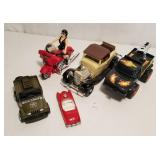 Friction US Army Jeep, ERTL Car, Motorcycle Woman