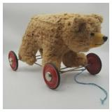 Vintage Rolling Plush Bear Pull Toy