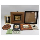 A lot including a leather coaster from Argentina,