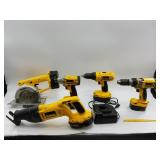 Box lot of DeWalt power tools with batteries and a