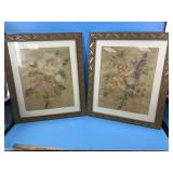 Lot of 2 prints from French paintings of flowers 2